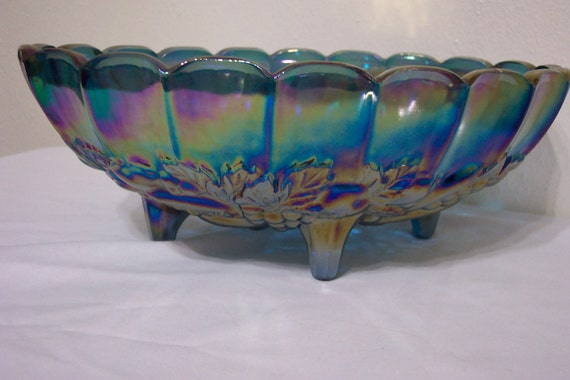 Blue carnival glass centerpiece footed fruit bowl indiana