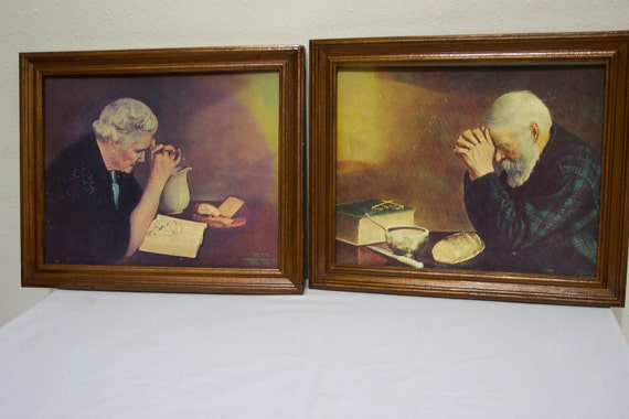 Grace and Gratitude Pictures - old man and old woman praying over bread