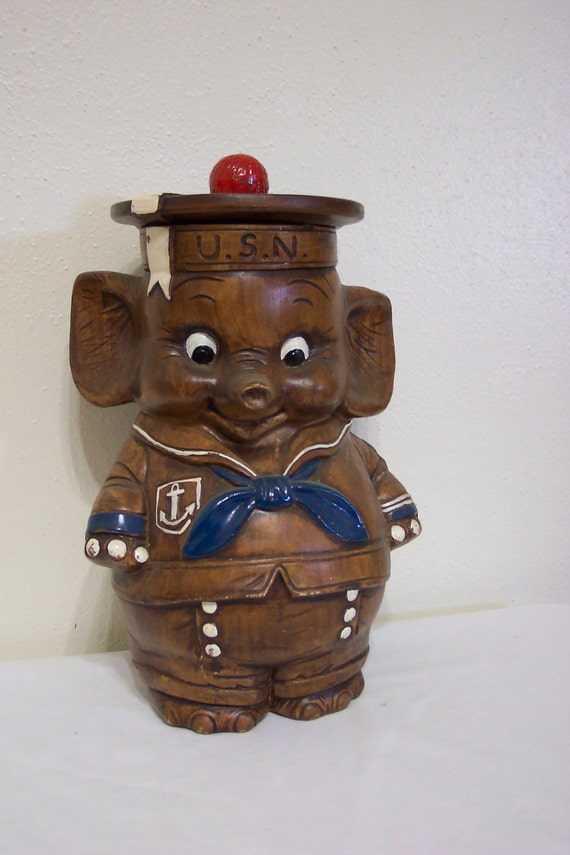 Elephant Cookie Jar Treasure Craft US Navy