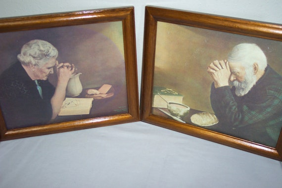 Painting Of Old Man Praying Over Bread