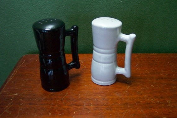 Salt and Pepper Shakers Frankoma Black and White
