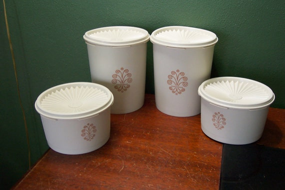 Tupperware Canister Set of 4 with Servalier Lids in Almond
