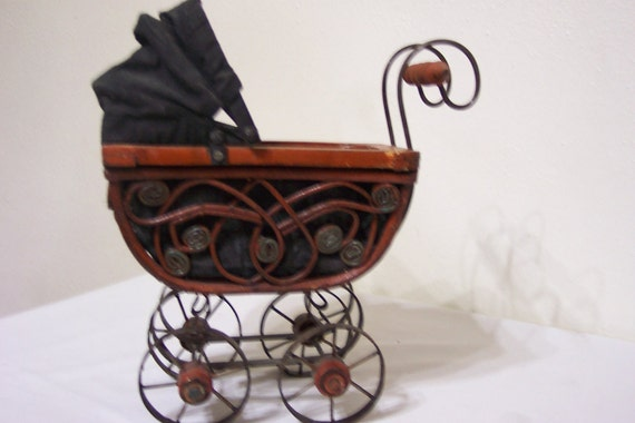 Vintage Wicker Buggy Tiny Doll Carriage