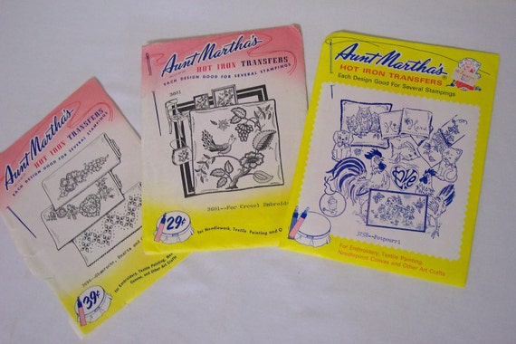 Embroidery Pattern Set of 3  Aunt Martha's Hot Iron Transfer Including Owls