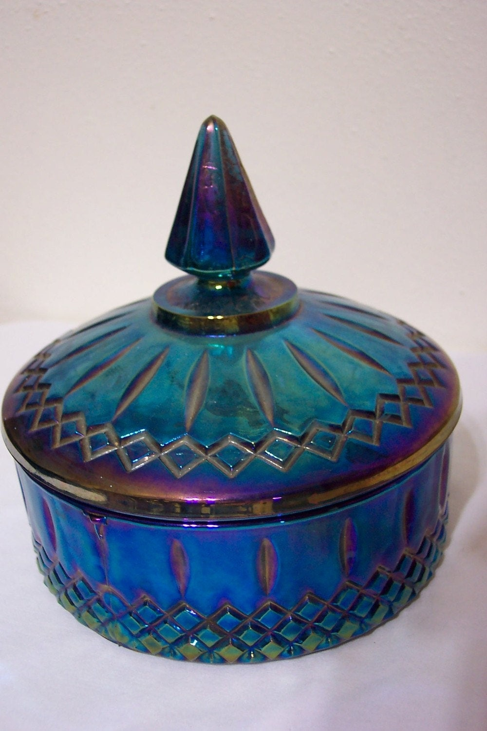 Blue Carnival Glass Covered Candy Dish From The 1960s