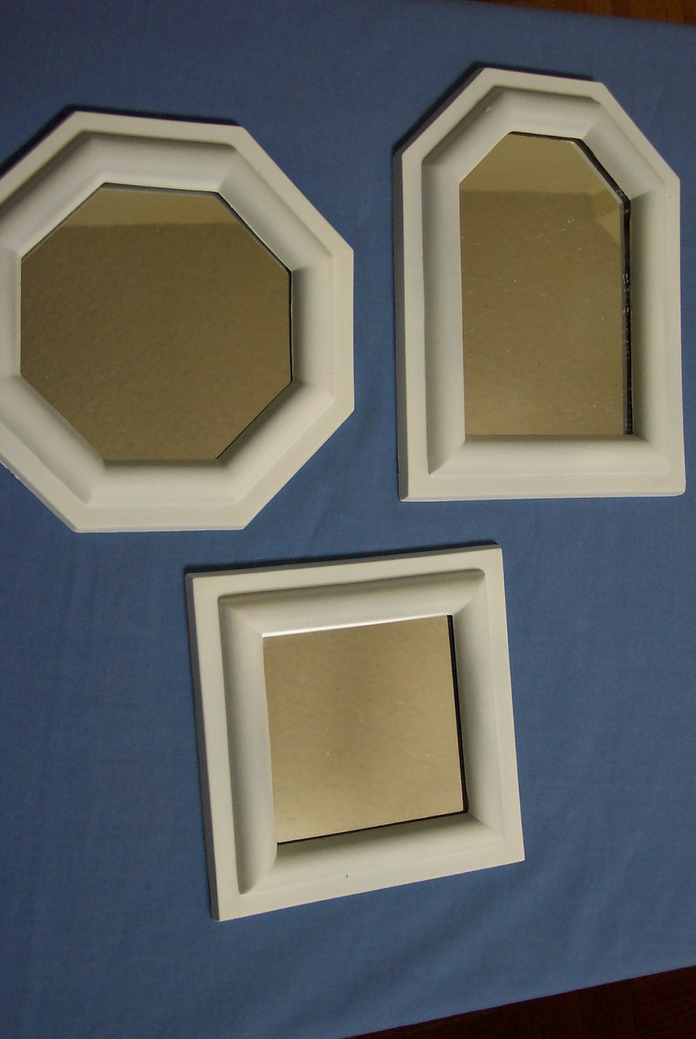 Mirror 3 small white framed mirrors upcycled mirrors set of for Small white framed mirrors
