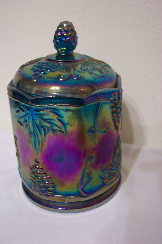 Blue Carnival Glass Biscuit Jar Cracker Barrel Candy Dish