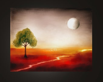 Bliss of solitude- Abstract Landscape Print. Free Shipping inside US.