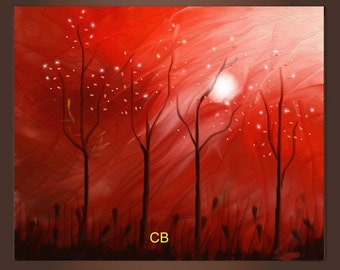 Abstract landscape painting print- The Red Forest. Pick it up in hours/ Free Shipping inside US