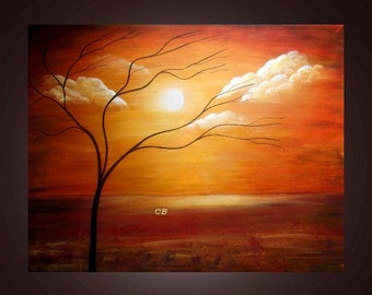 Peaceful- Abstract Landscape Art Print. Free Shipping inside US.