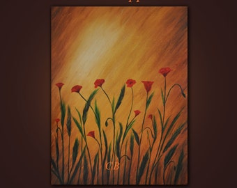 Original Contemporary Abstract Modern Fine Art Painting- Sunset Poppies 2- 24 inches. FREE SHIPPING inside US.