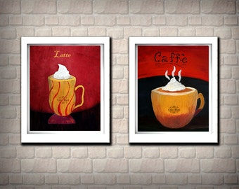 Caffe and Latte-  Kitchen Art Print Set. Coffe Painting print. Home, kitchen, dining decor. Set of two prints.