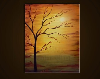 Original Oil Painting. Contemporary Abstract Landscape Modern Fine Art  Painting. SUNNY SIDE- Free Shipping inside US.