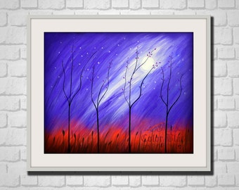 Dream forest. Abstract Landscape Art Print. Dreamy trees on a dreamy blue sky.