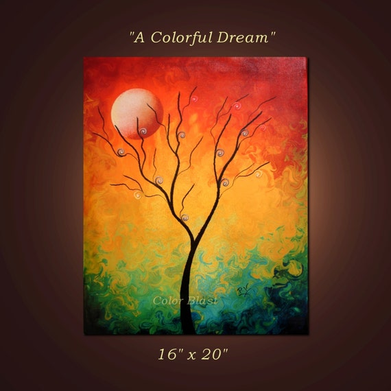 A COLORFUL DREAM- Abstract Giclee Print Mounted and Ready to be hung.  Free Shipping inside US.