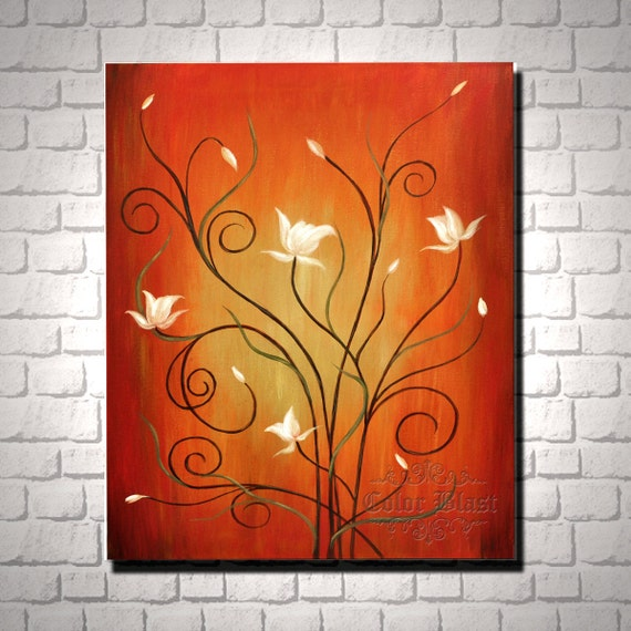 Garden of joy- Original Painting- Contemporary Abstract Modern Fine Art Floral Painting. Free Shipping inside US.