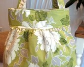 Handmade Gatherered Fabric Bag in Amy Butler Lime Lotus Peony Fabric