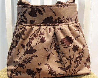 Handmade Gathered Fabric Bag in Joel Dewberry's Wildflowers in Mocha and Chocolate Brown