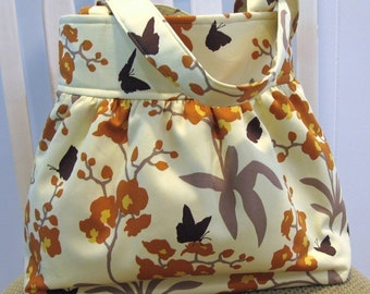 Gathered Cotton Fabric Bag in Joel Dewberry Orchid Ginseng, Ivory, Orange and Brown