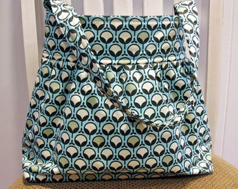 Gathered  Fabric Bag in Joel Dewberry Ginseng Modern Buds in Glacier