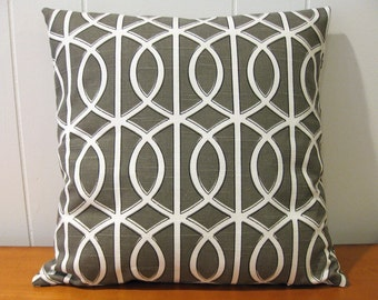 """Decorative Pillow Cover, 16"""" x 16"""",  in Taupe and White"""