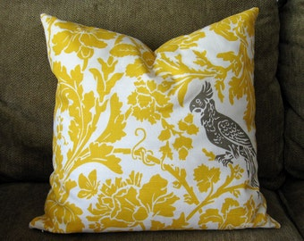 "Decorative Pillow cover-18"" x 18"", Yellow and Taupe with Bird and Floral Design"