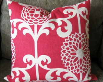 "Decorative Pillow Cover, One 18"" x 18"",  Faded Red and Natural (Cream)"