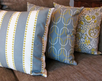 "Decorative Pillow Covers, Set of Three 18"" x 18"", Citrine, Gray and Natural"