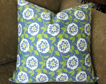 "Decorative Pillow Cover, 18"" x 18"",  in  Blue, Green and White Floral Design"