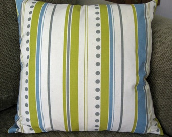 "Decorative Pillow Cover, 18"" x 18"", Cotton Duck, Stripes, Cream, Blue, Gray and Lt. Olive"