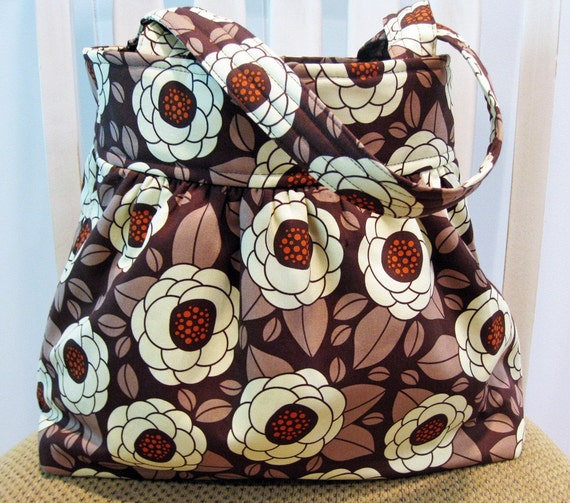 Gathered  Fabric Bag in Chocolate Brown, Mocha and Cream