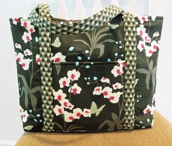 Handcrafted Large Fabric Tote Bag in Green, White and Pink