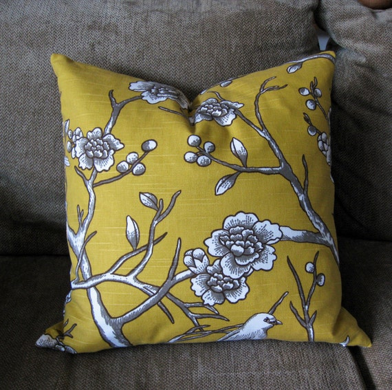 """Decorative Pillow Cover, 16"""" x 16"""",  in Citrine Yellow, White and Taupe"""