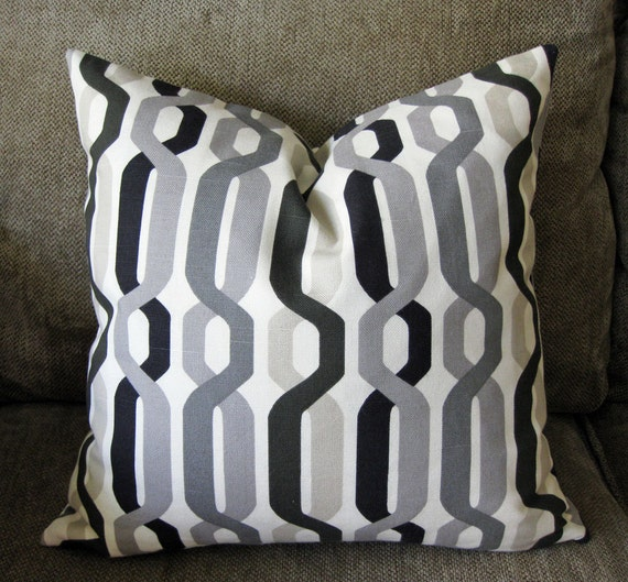 "Decorative Pillow Cover, 18"" x 18"" in  Tan, Black,Stone, Pewter and Charcoal Gray on an Ivory Background."