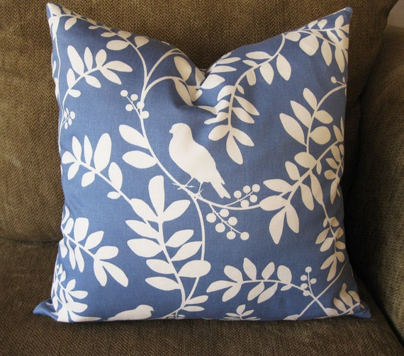 "Decorative Pillow Cover, 18"" x 18"",  in  Blue and White Bird and Botanical Design"