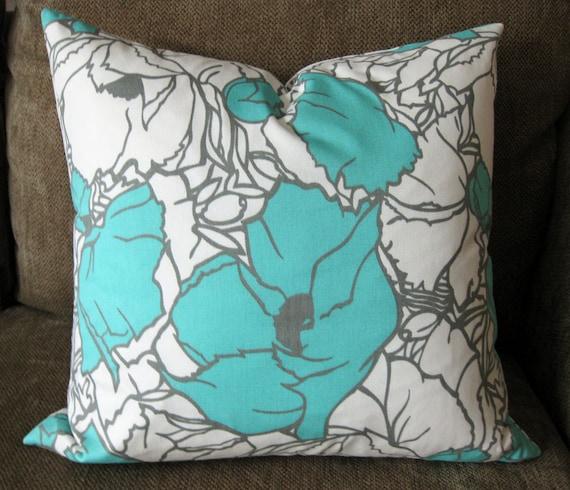 "Decorative Pillow Cover, 18"" x 18"", Aqua, White and gray"