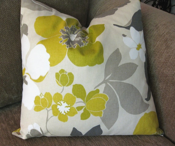 """Decorative Pillow Cover, One 18"""" x 18"""",  Gray, Cream, White and Olive"""