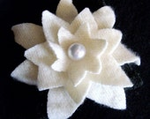 Ivory Cashmere Water Lily Hair Clip