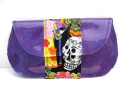 Purple Vinyl Mexican Skeletons Clutch