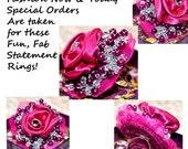 Large 2 Inch Chunky Flower Statement Ring Fushia Adjustable