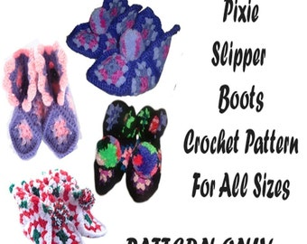 Pixie Slipper Boots Crochet Pattern PDF