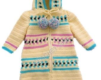 Baby Bunting Zippered  Hooded Cozy Sleeping Bag Crochet Pattern PDF
