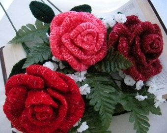 Crochet Bouquet Rose Pattern PDF