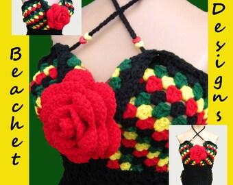 Crochet Halter Top Heart Shaped Bodice Corset Lace Back Pattern PDF