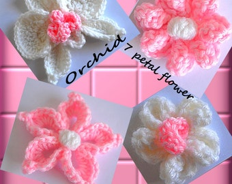 Crochet Flowers Orchid Star Flower 5 Petal Flower 7 Petal Flower Crochet Patterns Series V PDF
