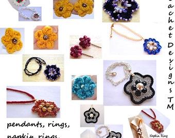 Crochet Jewelry Patterns Crochet Flower Ring Crochet Pendant Crochet Earrings Crochet Hair Pins PDF