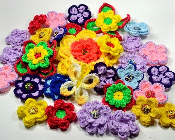 Large Crochet Flower Series IV Stackers 10 Flowers/1 Butterfly/14 Variations PDF