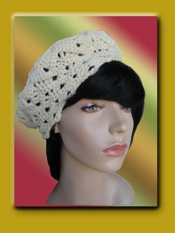Crochet Tam Beret Hat Ripple Pattern PDF