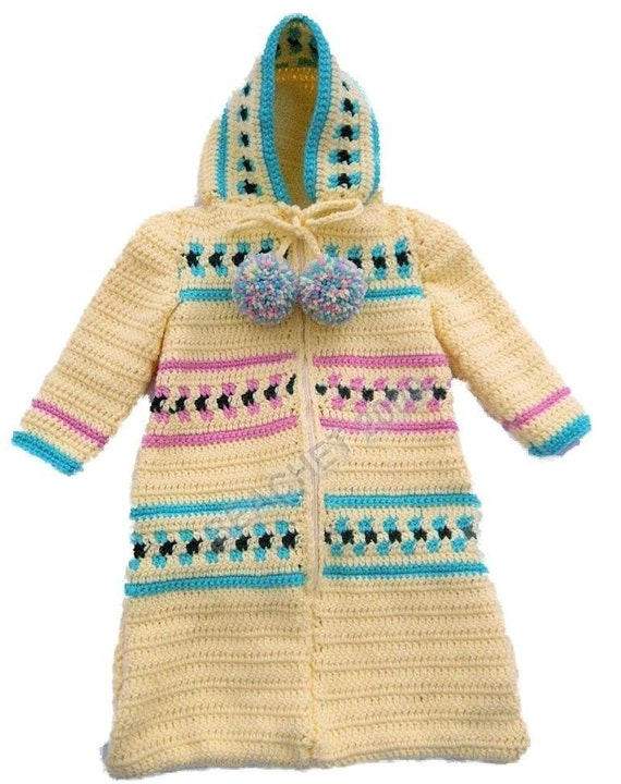 Crochet Pattern For Baby Sneakers : Baby Bunting Zippered Hooded Cozy Sleeping Bag Crochet