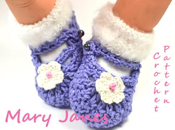 Baby Mary Jane Crochet Shoes Pattern 4 Sizes PDF